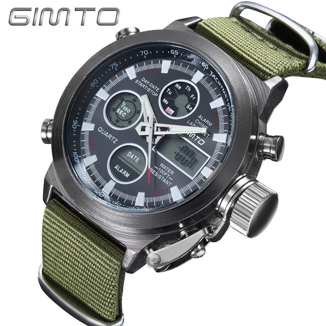 2018 GIMTO Top Brand Men Watch Shock Black Dial Digital Army Male Clock Waterpro