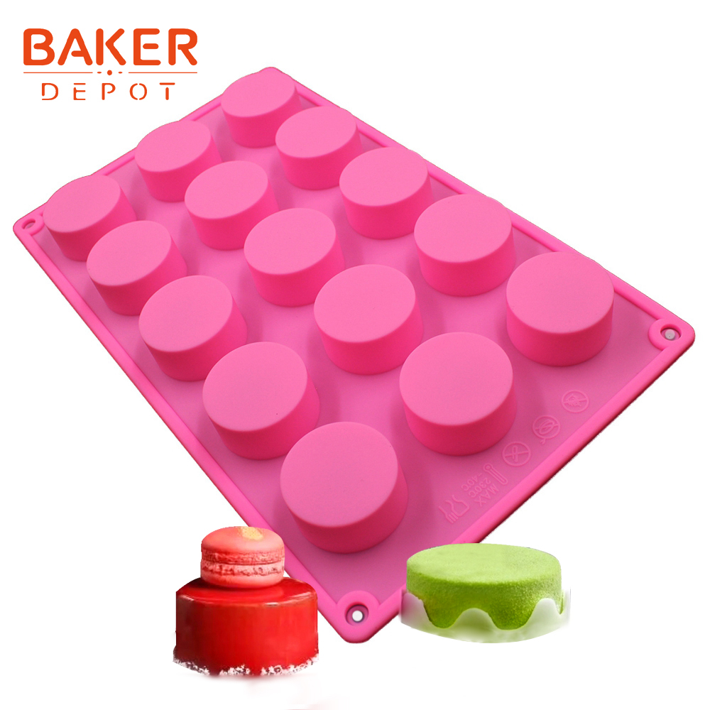 silicone round cake mold handmade soap moulds silicon candy pudding fondant molds cake tray bakeware baking tools 15 cavity