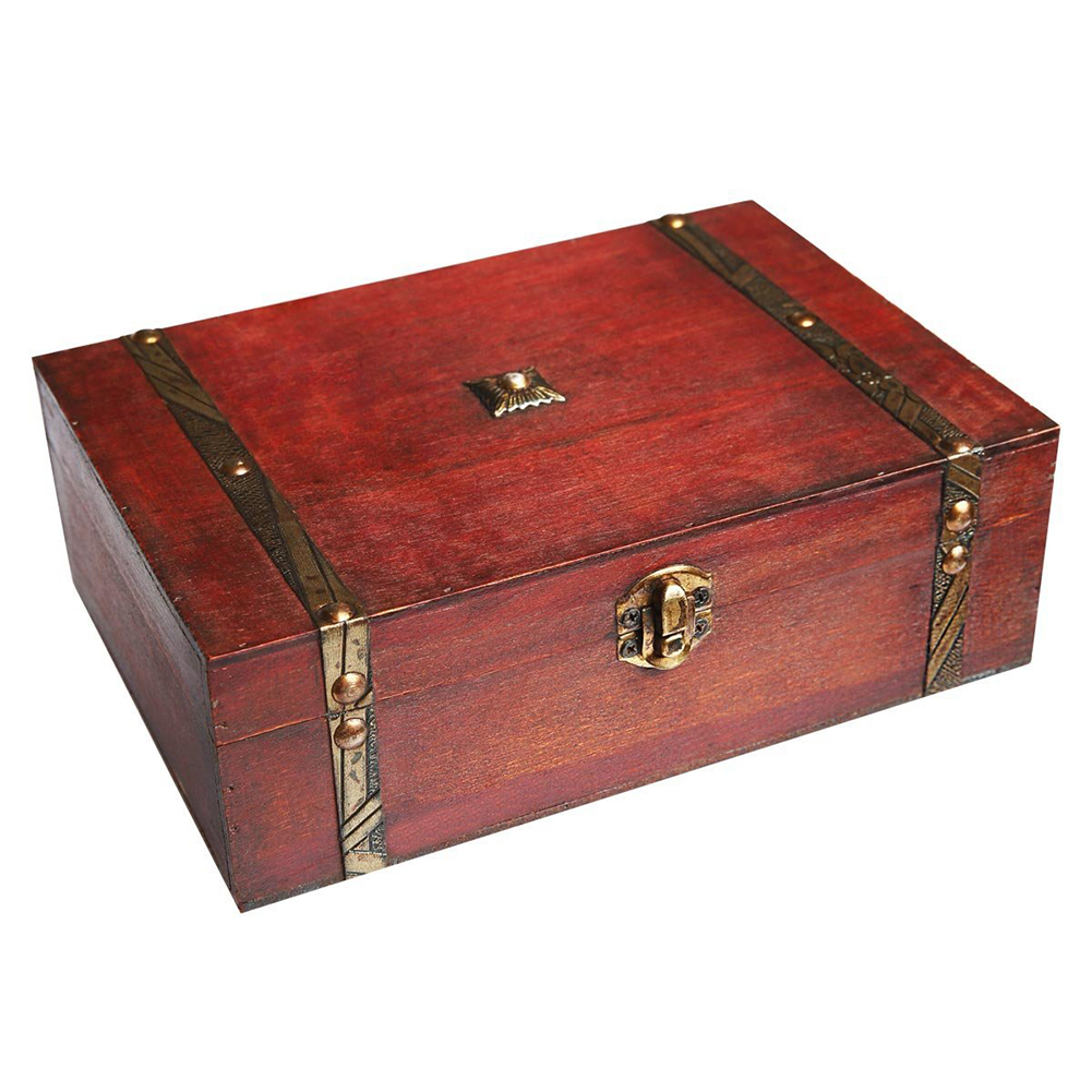 Rectangle Treasure Box Pirate Small Trunk Box For Jewelry Storage,Cards Collection,Gifts And Home Decoration