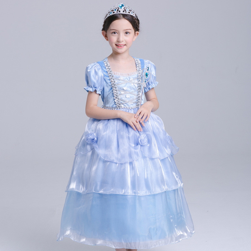 Carnival Girls Halloween Party Dress Christmas Princess Tutu Dress Cosplay Clothes Kid Girls Costume Blue Evening Prom Gown 4-10 юбка blue shells cosplay pettiskirt tutu lolita