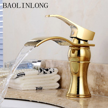 Gold Brass Basin Waterfall Faucets Deck Mount Vanity Vessel Sinks Mixer Bathroom Faucet Tap bathroom waterfall led faucet color changing solid brass body basin faucets bathroom mixer tap deck mounted with install hoses
