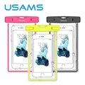 Usams universal bolso del teléfono touchable transparente bolsa de playa impermeable subacuática del bolso del teléfono para galaxy s6 s5 iphone 6/6 s plus