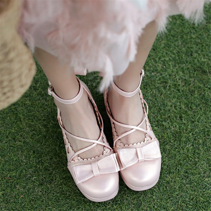 Big Size 30-48 Women Pumps Japanese Princess Lolita Shoes Sweet Bow Cross Straps High Heels Mary Janes COSPLAY Female Shoes Gold (4)