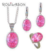 Pink Princess Jewelry Set Champagne  silver Earrings Necklaces Rings for Wedding Jewelry JS664