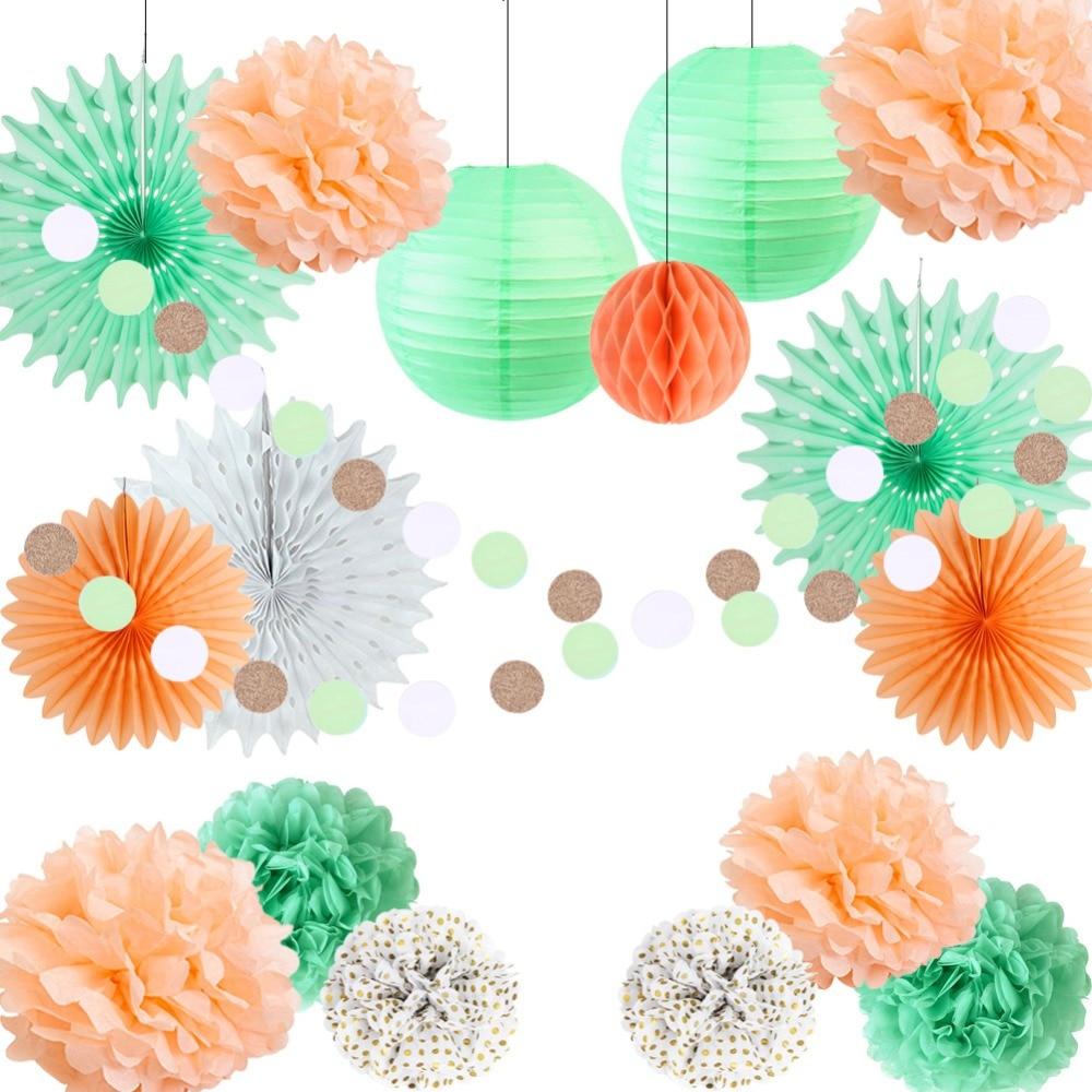 Wedding Decorations 17pcs Paper Fans Lanterns Pom Poms Honeycomb Balls Circle Garland Birthday Bridal Shower Party Supplies