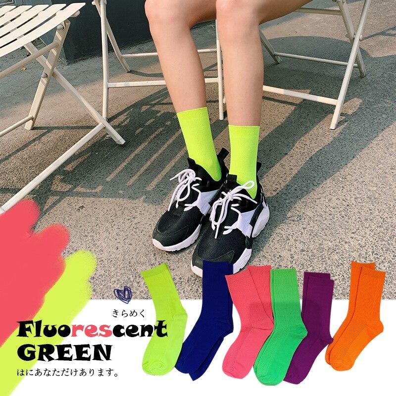 SP&CITY Summer Cool Girls Solid Cotton Socks Fluorescent Colors Vintage Mid Hip Hop Socks Skateboard Street Dance Sock Hipster