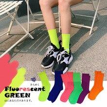 SP&CITY Summer Cool Girls Solid Cotton Socks Fluorescent Colors Vintage Mid Hip