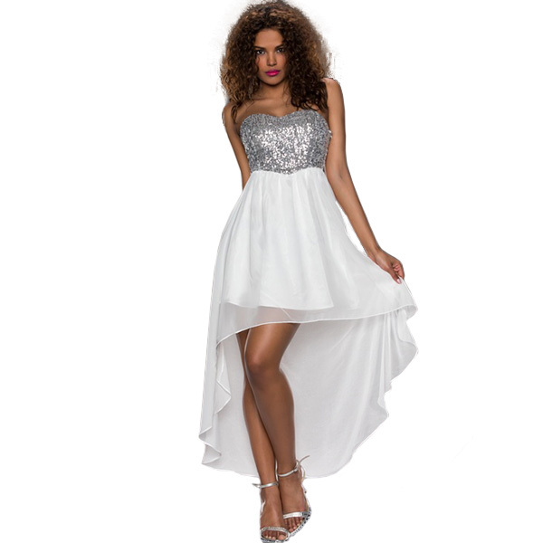 Silver Sequin Strapless Dress Promotion-Shop for Promotional ...