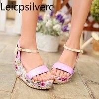summer new style Flower sweet Sexy High heel Waterproof platform Wedge Women's sandals purple Blue size 34 39