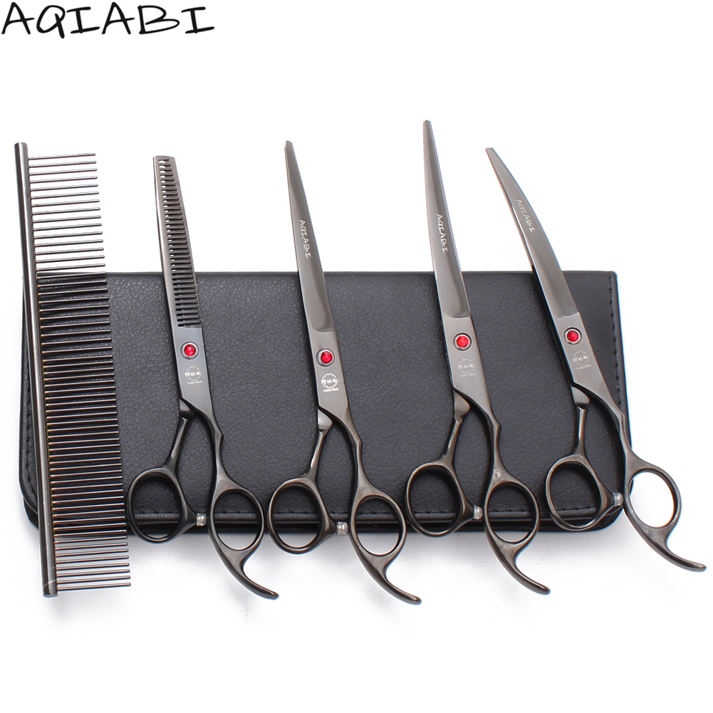 A3003 5Pcs Suit 7 AQIABI Dogs Grooming Scissors Straight Scissors Thinning Shears Down Curved Shears Professional Pet ScissorsA3003 5Pcs Suit 7 AQIABI Dogs Grooming Scissors Straight Scissors Thinning Shears Down Curved Shears Professional Pet Scissors