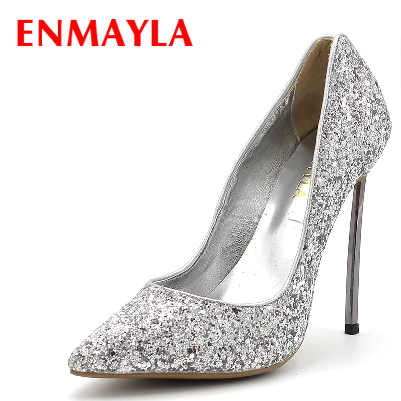 ENMAYLA ENMAYLA Women's Stiletto High Heels Glitter Party Wedding Shoes Woman Sliver Gold Red Sexy Metal Super Heels Pumps Women enmayla women gradient color sexy stiletto pointed toe leopard pumps women high heels party shoes woman black office ladies
