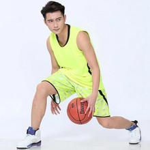 2017 New Men Basketball Jersey Set With Shorts Camouflage Sport Training Basketball Suits Reversible Big Size