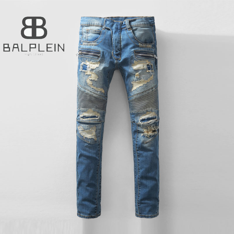 High Street Blue Color Biker Jeans Men Slim Fit Destroyed Motor Pants Balplein Brand Mens Ripped Jeans Full Size 29-40 #928 men s cowboy jeans fashion blue jeans pant men plus sizes regular slim fit denim jean pants male high quality brand jeans