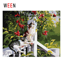 WEEN Cute Cat Diy Painting By Numbers Animal Oil On Canvas Garden Railing Flower Cuadros Decoracion Acrylic Wall Art
