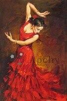 Испанский Костюмы для фламенко танцовщица в красном платье картина маслом на холсте Настенный декор Parede сала ЭСТАР pinturas famosas Wall Art канва