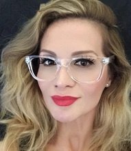 Crystal Clear Frame Transparent Lens Womens Acetate eyeglasses square eye glasses spectacle frame clear lens fake