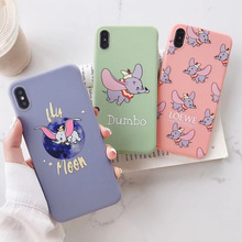 Cute Cartoon Dumbo Flying Elephant logo moon Phone Case For iphone Xs MAX XR X 6 6s 7 8 plus Candy Painted Soft TPU back Cover