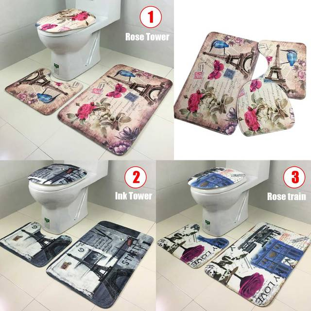 European Style 3Pcs/Set Lid Toilet Seat Cover Pedestal Rug Bathroom Mats Set for Living Room Household Toilet Bowl Mat Set