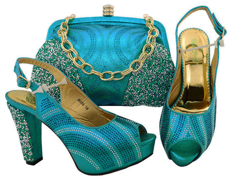New item turquoise blue shoes and bag matching set 4.3 inches high quality italian design shoes bag set with free ship SB8133-5 cd158 1 free shipping hot sale fashion design shoes and matching bag with glitter item in black