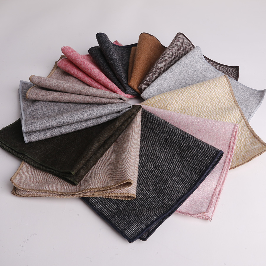 Mantieqingway Handmade Men's Handkerchief Pure Color Wool Hankies For Men's Suit Pocket Square Solid Cotton Handkerchief