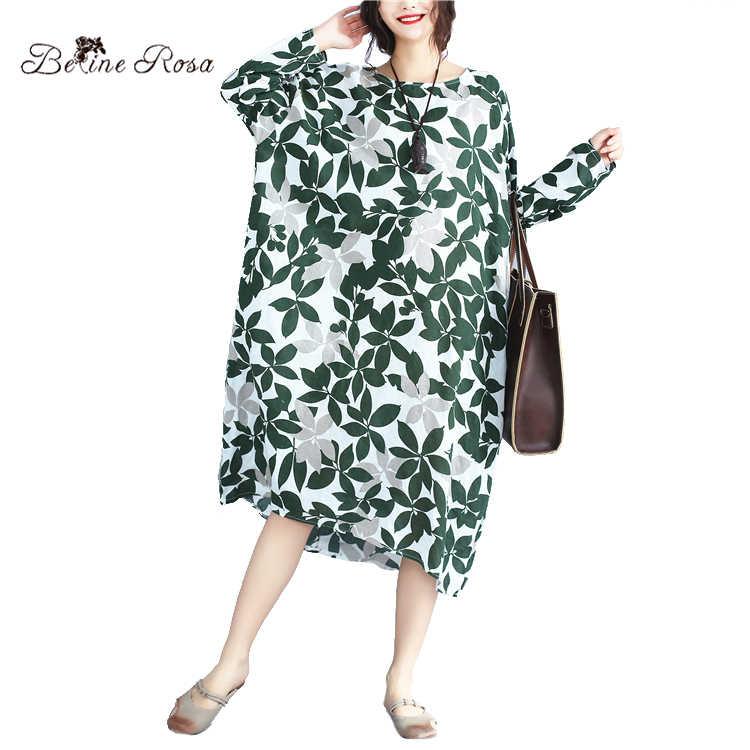 BelineRosa Women s Cotton Linen Dresses Large Size Women Clothes Long  Sleeve Loose Fashion Dress Female BSDM0032 9e6c42d837c3