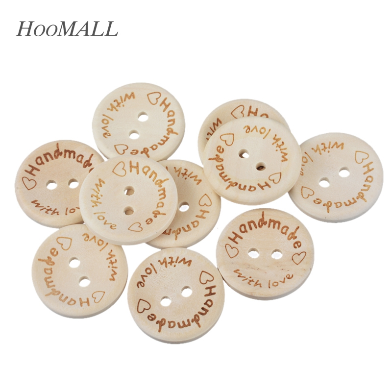Hoomall 50PCs Natural Color Wooden Buttons Handmade Letter Love Scrapbooking For Wedding Decor 15mm/20mm/25mm