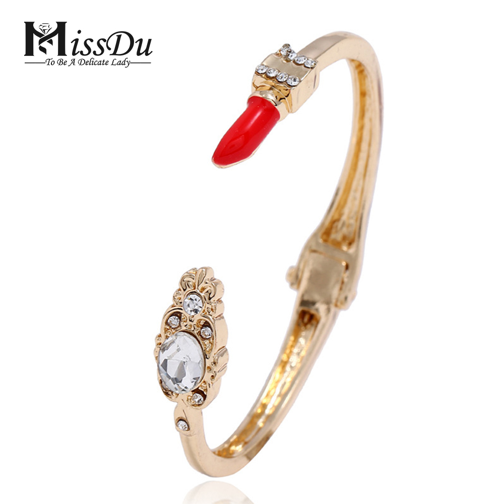 MissDu 2018 Fashion Women's Lipstick Bracelet Micro-inlaid Zircon Open Bracelet Bracelet free shipping