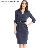 Chu Ni Elegant Womens Work Business Wear Fashion V Neck 3 4 Sleeve Belt Cotton Dress
