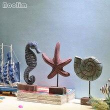 NOOLIM новейший Средиземноморский стиль деревянные ремесла Морская звезда раковины гиппокамп резьба по дереву морской домашний декор