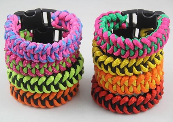 10pcs/lot Mix Colors New Unisex Handmade Blue Brown Weave Paracord Bracelet with plastic buckle snap button jewelry