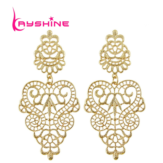 Brincos Vintage Gothic Style Hollow Out Flower Dangle Earrings For Women Accessories