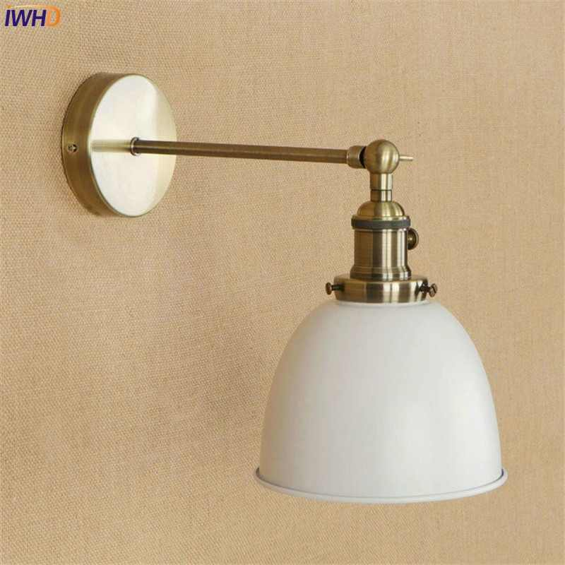 IWHD White Brass Retro Wall Lights Fixtures Dinning Room 4W LED Edison Stair Light Industrial Vintage Arm Wall Lamp Lamparas