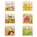 Шесть Сторон 9 шт. Деревянные Головоломки Мультфильм Мир Насекомых Pattern Головоломки Деревянные Развивающие Игрушки для Детей Головоломки, Настольные Игры