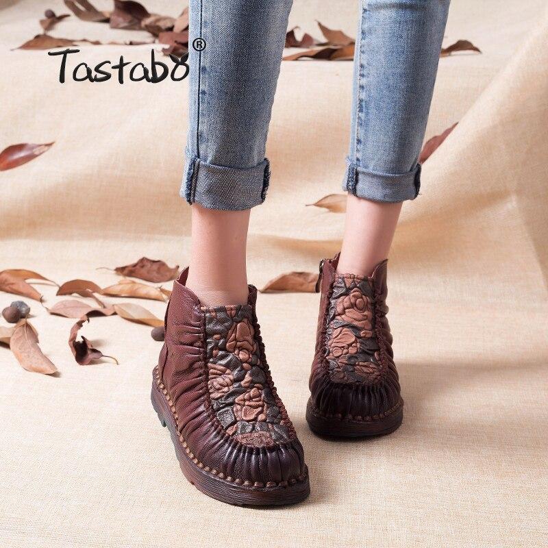 Tastabo Warm Velvet Genuine Leather Ankle Shoes Women Vintage Mom Shoes Martin Boots tastabo 2017 fashion handmade boots for women genuine leather ankle shoes vintage mom women shoes round toes martin boots