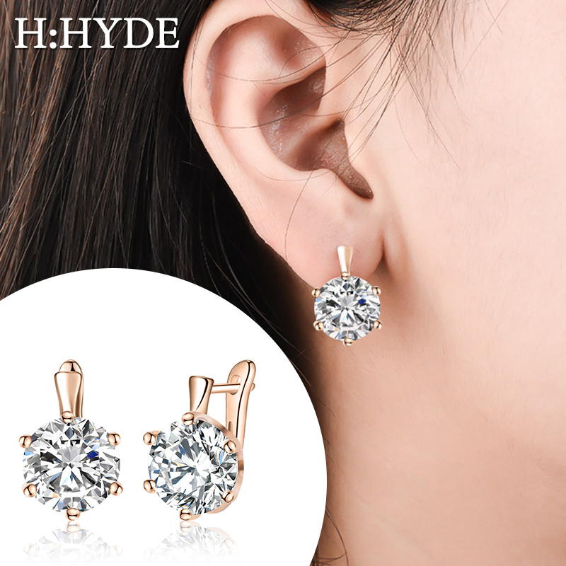 H:HYDE Fashion 10 Colors AAA CZ Element Stud Earrings For Women Vintage Pink Blue Crystal Earrings Statement Wedding Jewelry