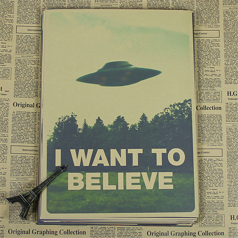 Retro Kraft Vintage Paper X Files I Want To Believe Wall Stickers Home Decor