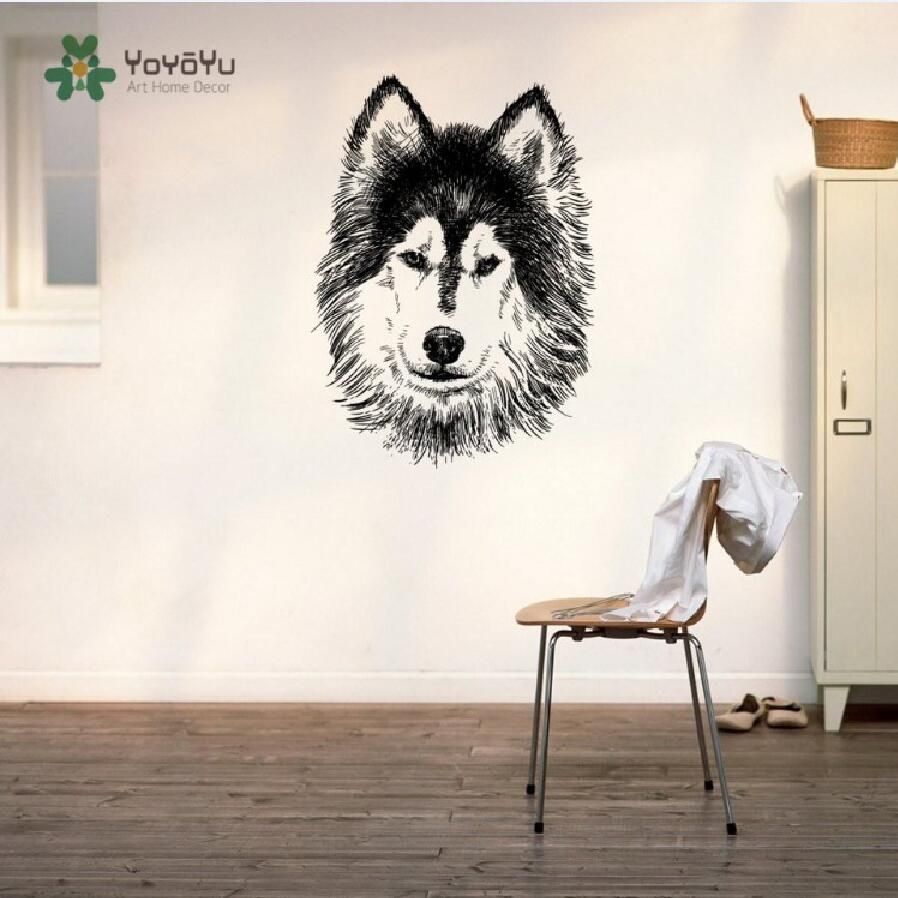 Wall Decal Vinyl Sticker Siberian Husky Dog Puppy Breed Pet Animal Family Wall Art Decor Removable Nursery Poster Mural WW-374 image