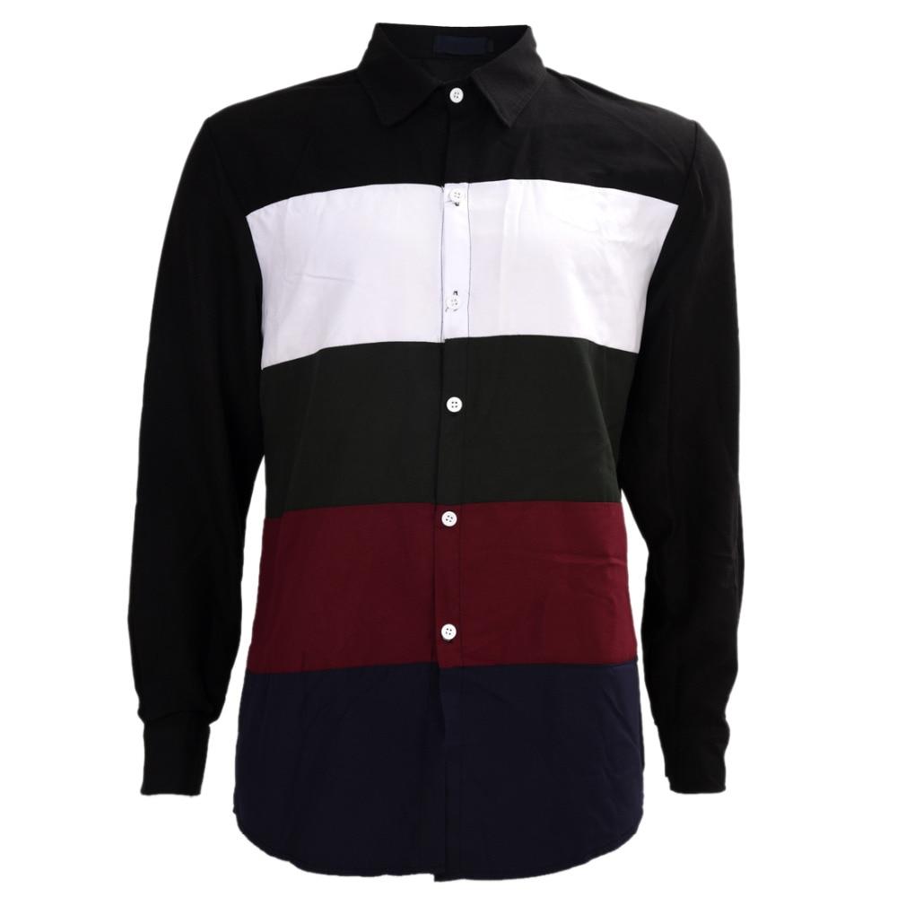 Chegada nova camisa listrada dos homens moda slim fit multi cor dos homens  camisa de manga longa de algodão tamanho M XXL chemise homme em Camisas  casuais ... 754fa23e632