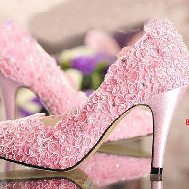 2015 diseñador moda zapatos rosados de la boda bombas del alto talón ...