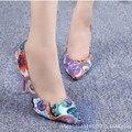Senhoras algodão Sexy apliques de tecido impressão de couro pontas do dedo do pé Capa de salto alto fino sapatos de salto mulheres bombas grande size11 12 meninas
