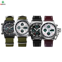 NORTH Watch Green Army Mens Sports Watches Quartz Relogio Military Nylon  leather  Strap Auto Date Relojes Deportivos 2017