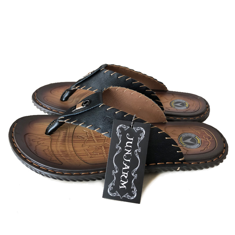 Image 4 - JUNJARM Luxury Brand 2019 New Mens Flip Flops Genuine Leather Men Slippers Summer Fashion Beach Sandals Shoes For Menshoes brandshoes fashionshoes for -