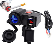WUPP Motorcycle Cigarette Lighter Socket Adapter 12V 4.2A Usb Outlet Led Display Voltmeter With Butts Switch On/ Off