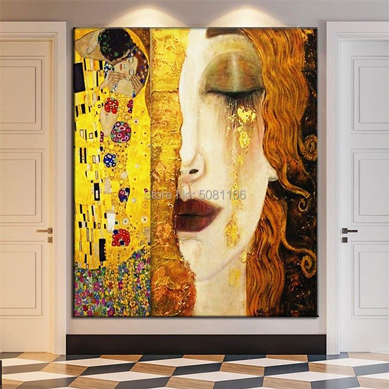 Peint à la main top célèbre peinture à l'huile or larmes d'or par Gustav klimt copie toile photos baiser mur art chambre décoration - 6