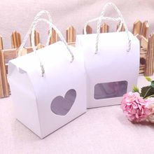 Ivoy20pcs Paper Clear Heart Window Box multi color Paper Candy Boxes With Handle Snack Cookie Chocolates Gifts box for wedding(China)