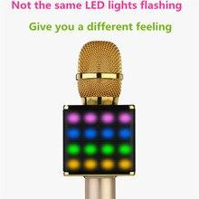 BINGSENTEC Flash de Luz LED H8 Teléfono Moblie Bluetooth Micrófono de Karaoke KTV Altavoz Reproductor de Música Con Sonido Profesional Mezclador