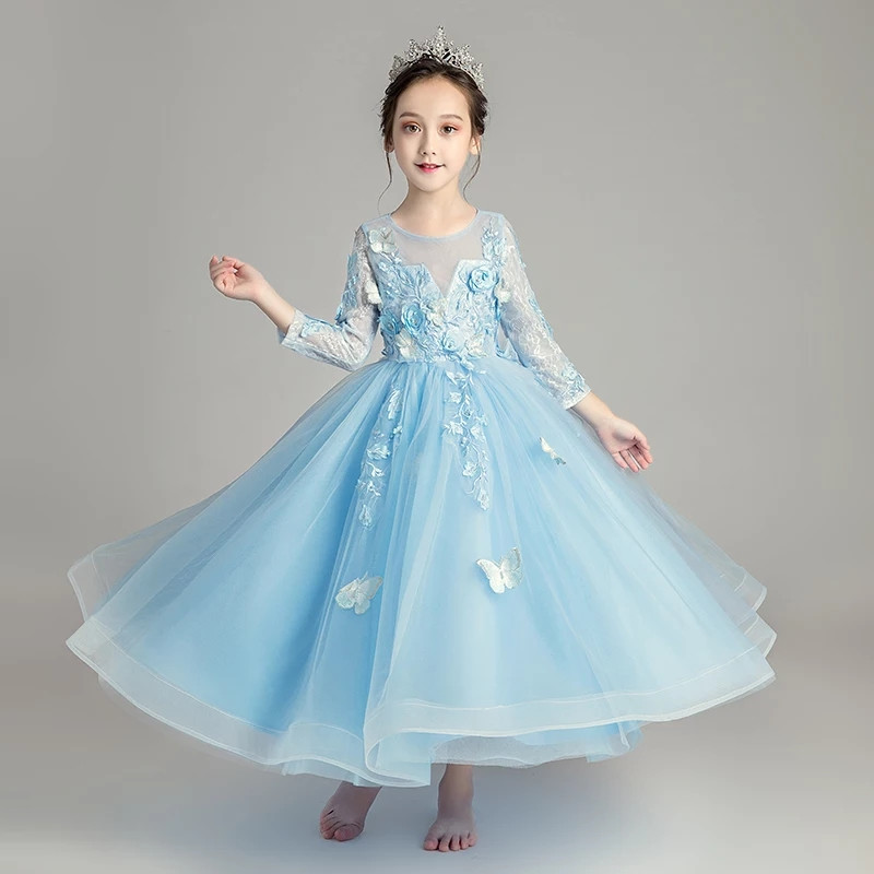 2018autumn Luxury Infant Toddler Blue Pink Flowers Girl Dresses For