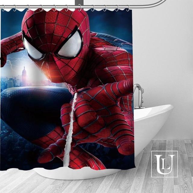 Custom Spiderman Curtain Fabric Modern Shower Bathroom Beautiful Curtains Bath Decor Polyester Cloth Waterproof