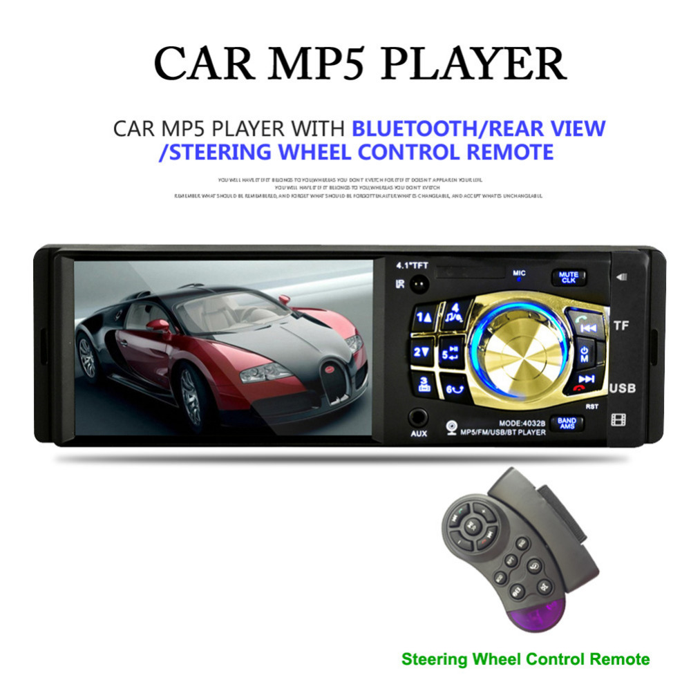 4.1 Screen Car Radio Player With Rear view Camera Auto Bluetooth For Stereo Music HD Backlit USB Video 4032B Mp5 Player