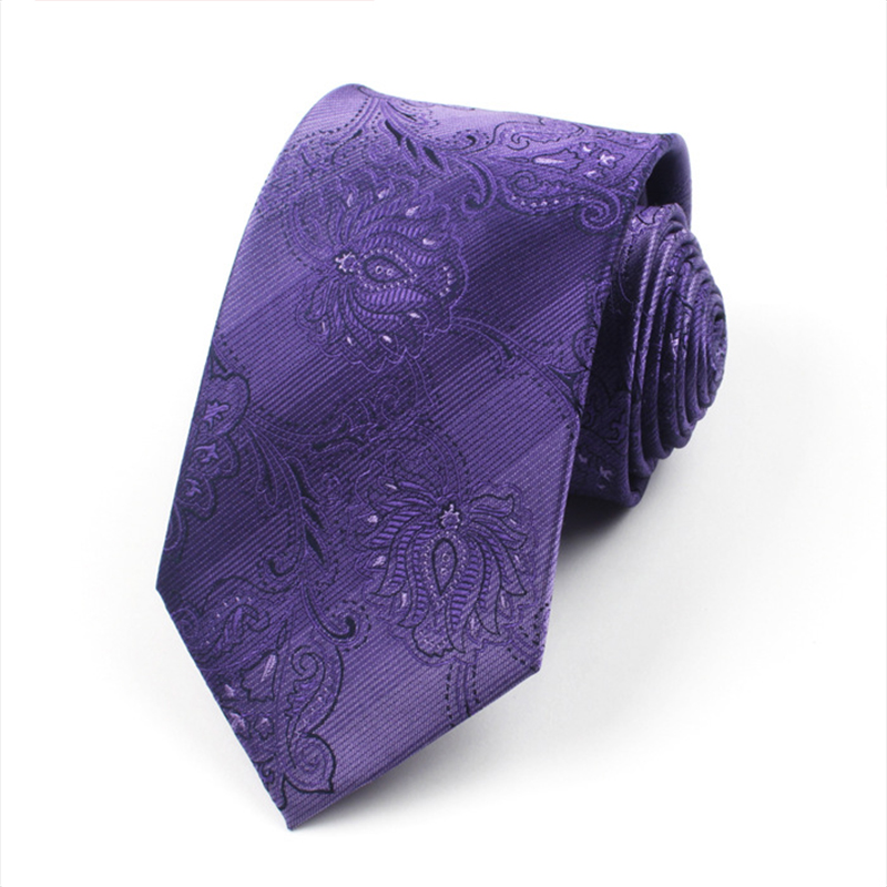 Fashion Shirt Neck Tie Jacquard Gravatas Purple Floral Embroidery Mens Ties Cravat Necktie Onesize Ties For Men DaA14-85